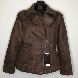 NWT Vegan suede brown lined zippered jacket M